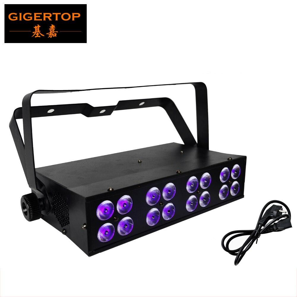 Envío Gratis 16x3W LUZ DE Led UV 90-240V DMX512 5CH etapa luz negra UV efecto IP44 lámpara de Led UV cabeza de aluminio ventilador de refrigeración