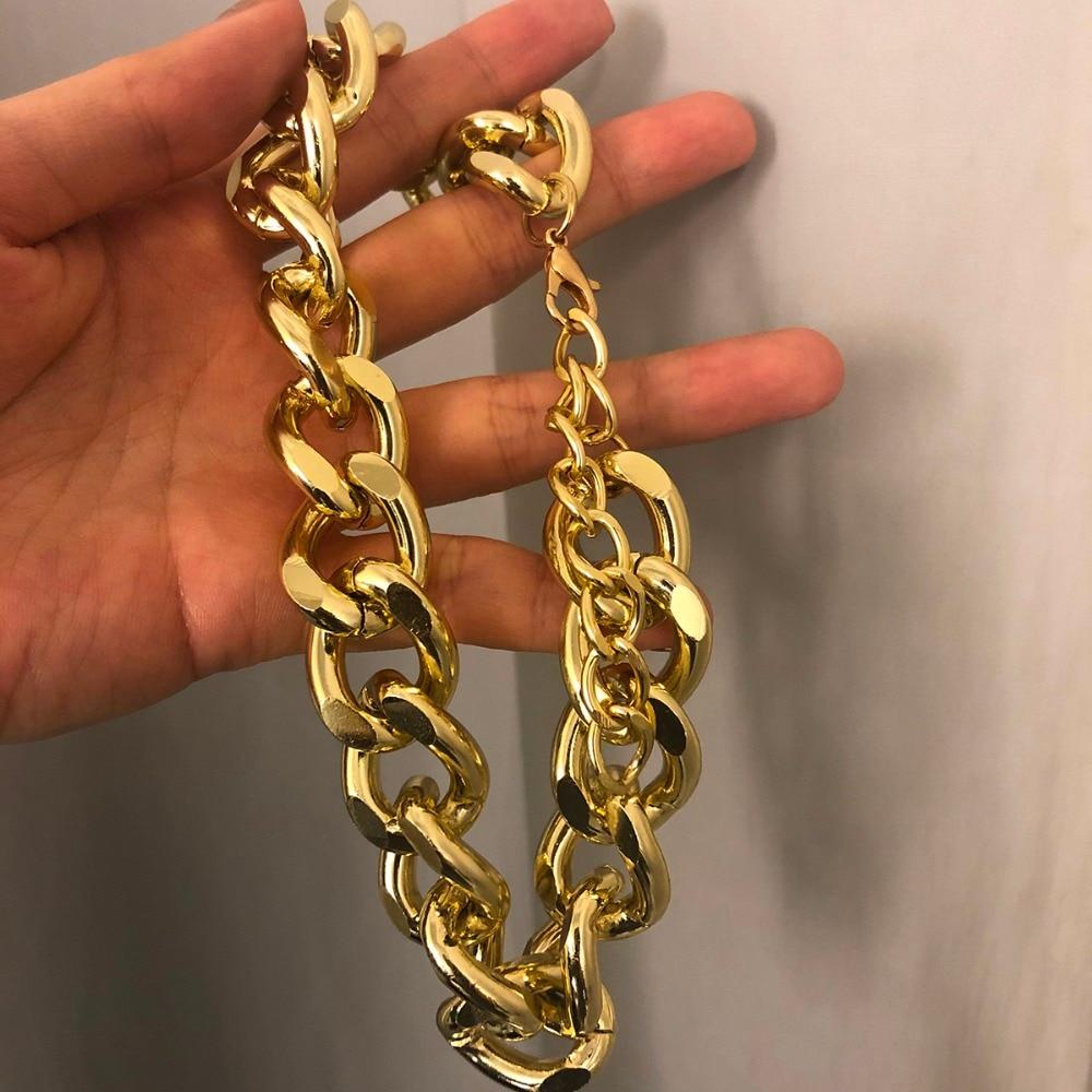 Купить с кэшбэком Punk Miami Cuban Choker Necklace Collar Statement Hip Hop Big Chunky Aluminum Gold Color Thick Chain Necklace Women Jewelry