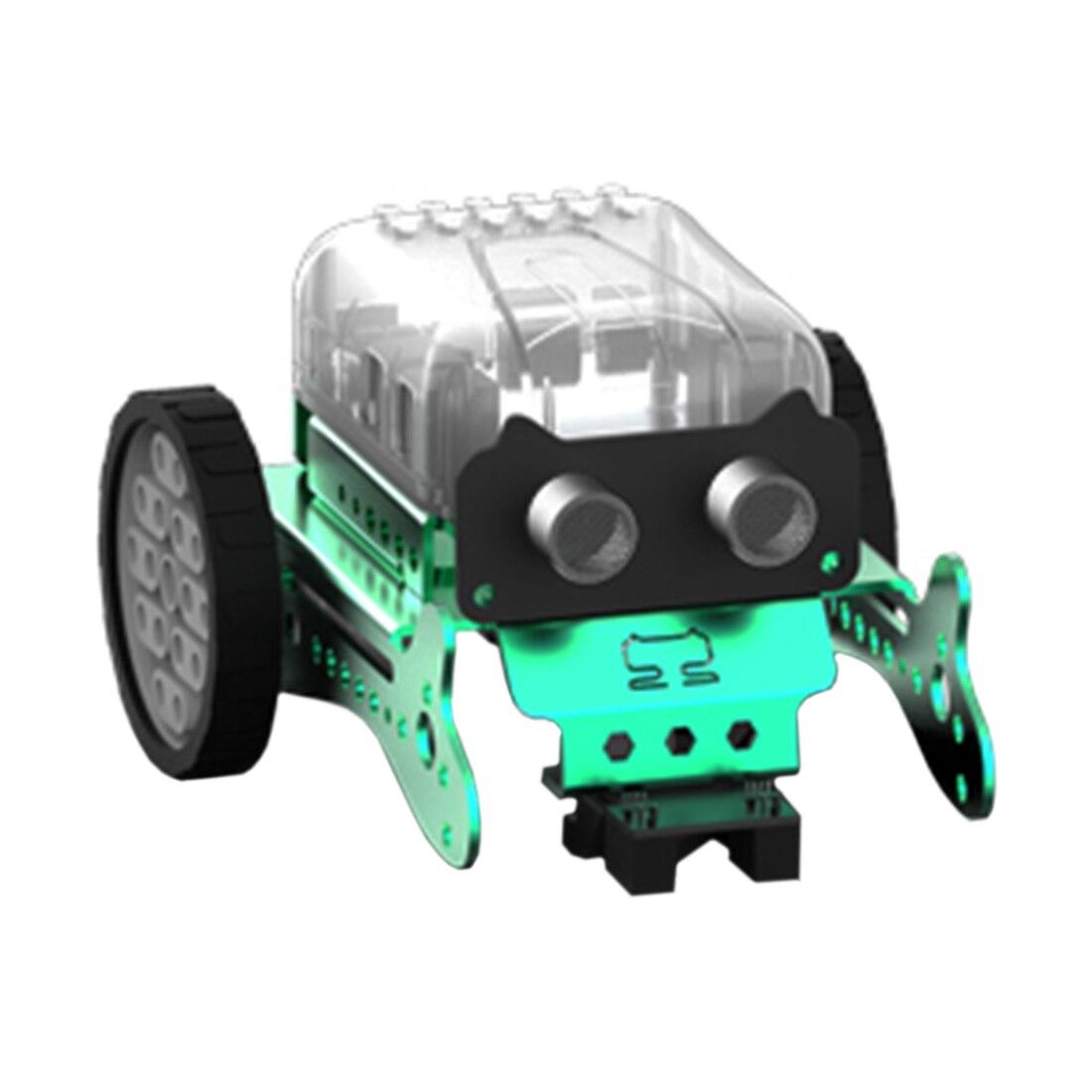 Diy neo programação zero inteligente obstáculo evitar carro robô kit para crianças presente modelo de brinquedo mini robô inteligente-verde vermelho