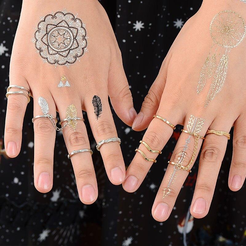 MISANANRYNE 6 unids/lote joyería de moda oro color apilable midi dedo nudillo anillos abiertos establece para las mujeres de regalo de la joyería