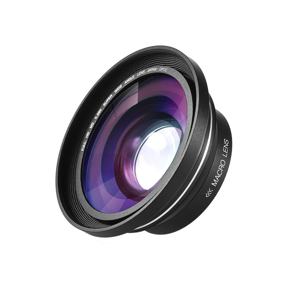 Lente Macro gran angular 30mm 37mm 0.39X Full HD para videocámara Digital Ordro Andoer