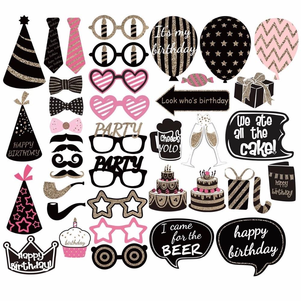 Suministros de decoraciones DIY para fiesta de cumpleaños, cabina de fotos, accesorios de Photobooth, Ideas para fiesta de feliz cumpleaños, regalos para mujeres y niñas