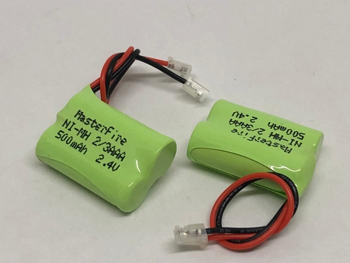 MasterFire 2 2 pacote/lote New Ni-MH/3AAA 2.4V 500mAh Ni-MH Bateria Recarregável 2/3 AAA Baterias de Telefone Sem Fio pacote Com Plugues