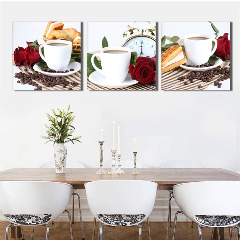 Arte de pared grande pintura al óleo sobre lienzo 3 paneles taza de café flores para sala de estar póster cocina impresiones foto artística modular