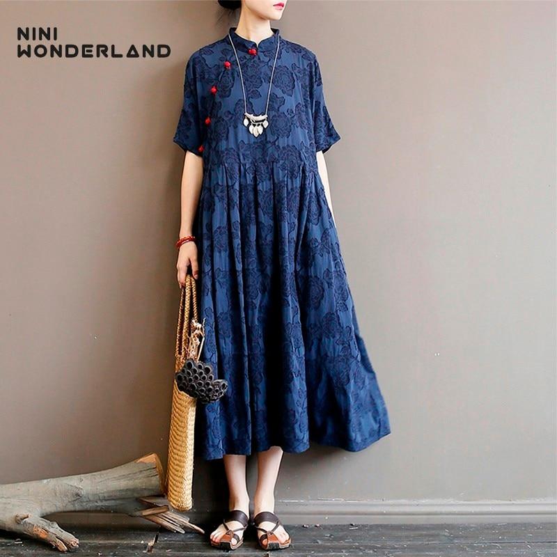 Nini Wonderland 2020 primavera vestido estampado Mujer Vintage vestido Retro verano flor algodón Lino Vestidos Mujer vestido suelto talla grande