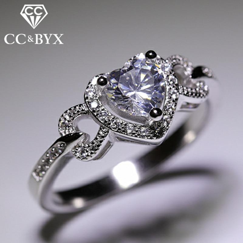 CC 925 Silver Heart Rings For Women Oro Blanco Color Bridal Wedding Trendy Jewellery Engagement Ringen Parure Bijoux Femme CC743