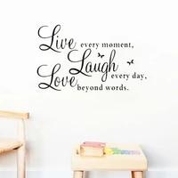 Autocollants muraux en Pvc  citation inspirante  vivre chaque Moment rire chaque jour  amour au-dela du mot  decoration de chambre a coucher  bricolage  Art Mural