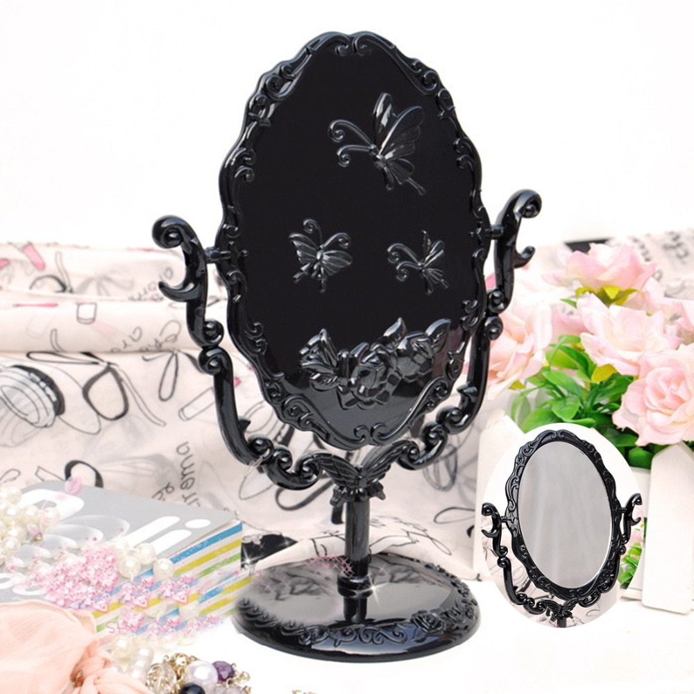 Neueste Schwarz Vintage Royal Make-Up Spiegel Desktop Drehbare Gothic Spiegel mit Schmetterling Rose und Reben Dekoration Kosmetische Werkzeug