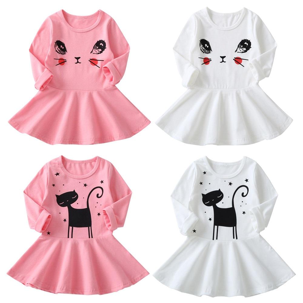 Nueva moda Otoño Invierno gato estampado niños manga larga dibujos animados bebé niña vestidos de fiesta de algodón para niños princesa niñas vestido