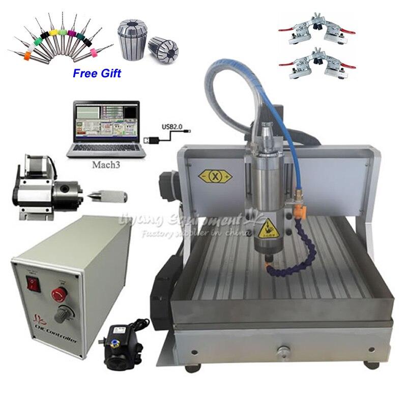 Enrutador CNC de 4 ejes 3040 kW máquina de grabado CNC USB ensamblado 1500W con tanque de agua