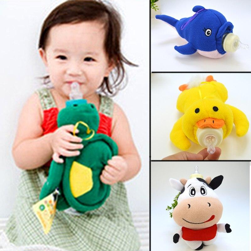 TEXU 500ml tapa de botella de dibujos animados suave animal relleno bebé titular de la botella de bebé bolsa de regalo para los niños