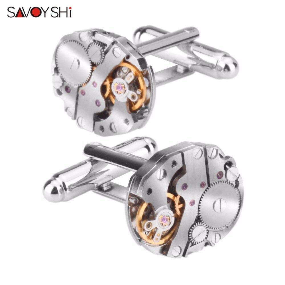 Savyshi pequeños gemelos de movimiento para hombres camisa puño con botones de alta calidad óvalo color plata gemelos marca de diseño de joyería
