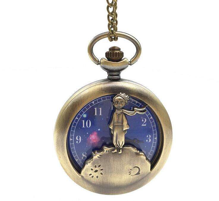 Moda azul o pequeno príncipe bronze relógio de bolso quartzo analógico pingente colar das mulheres dos homens crianças planeta vintage steampunk presentes