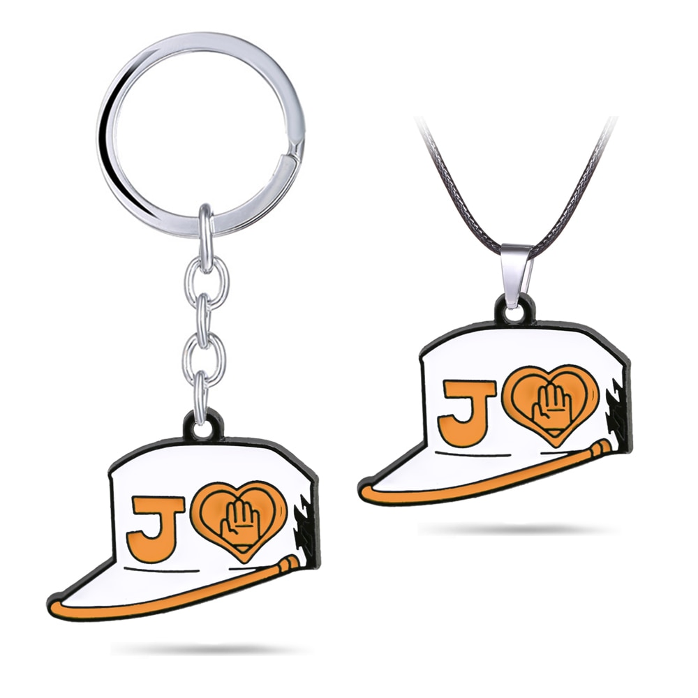 Jojos aventura bizarra chaveiro kujo jotaro estudante chapéu pingente colar de metal couro corrente gargantilha chaveiro anime jóias