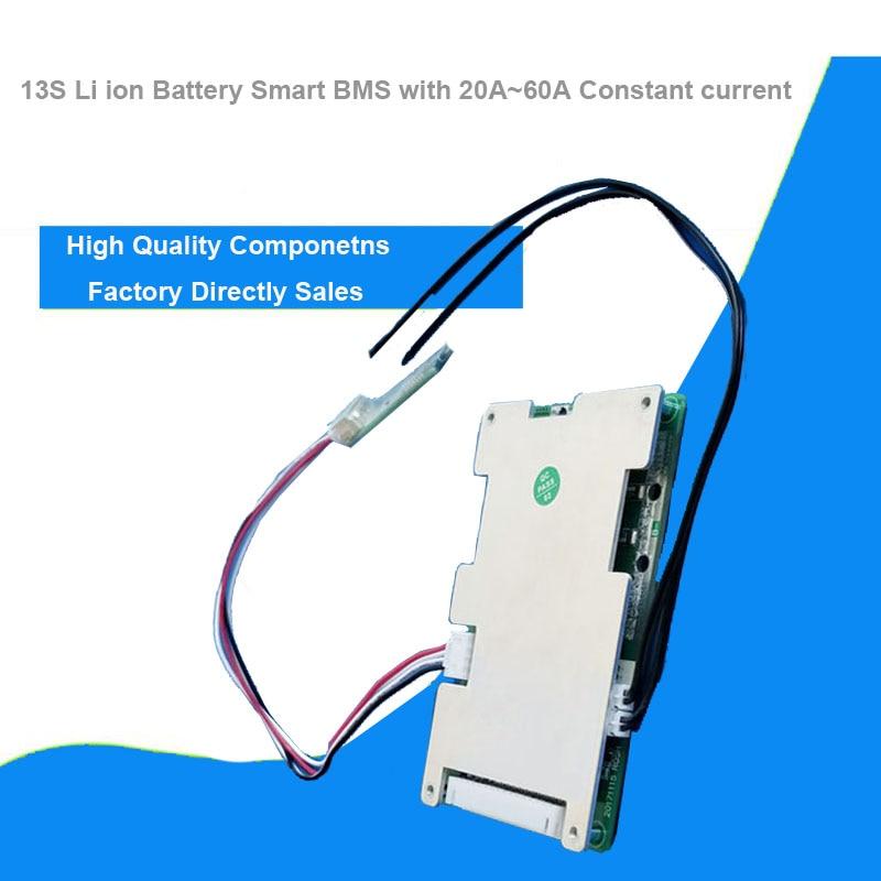 13S 48 فولت لي أيون الذكية بلوتوث BMS مع 20 إلى 60A تيار مستمر 54.6 فولت البرمجيات لوحة دارات مطبوعة لبطارية الدراجة الإلكترونية أو بطارية الطاقة