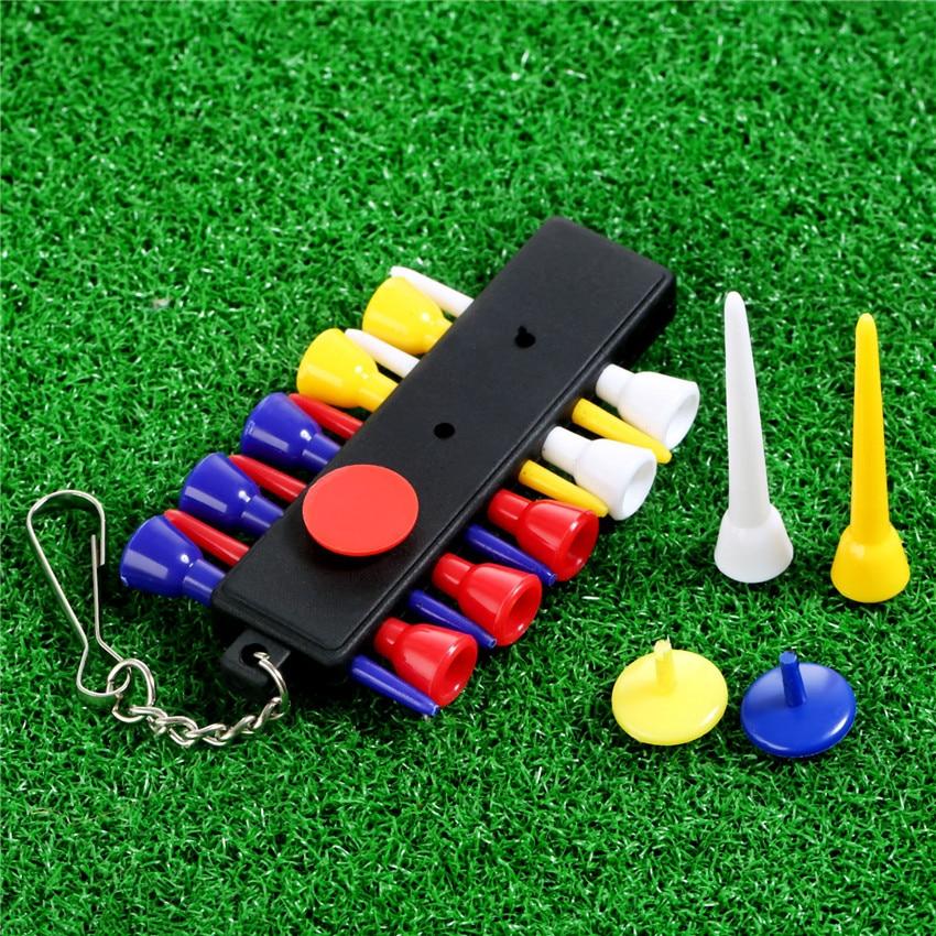 Soporte en T para Golf Clip de formación práctica herramientas gancho de plástico para cinturón bolsa llavero con 12 Uds Tees 3 marcadores de bola conjunto
