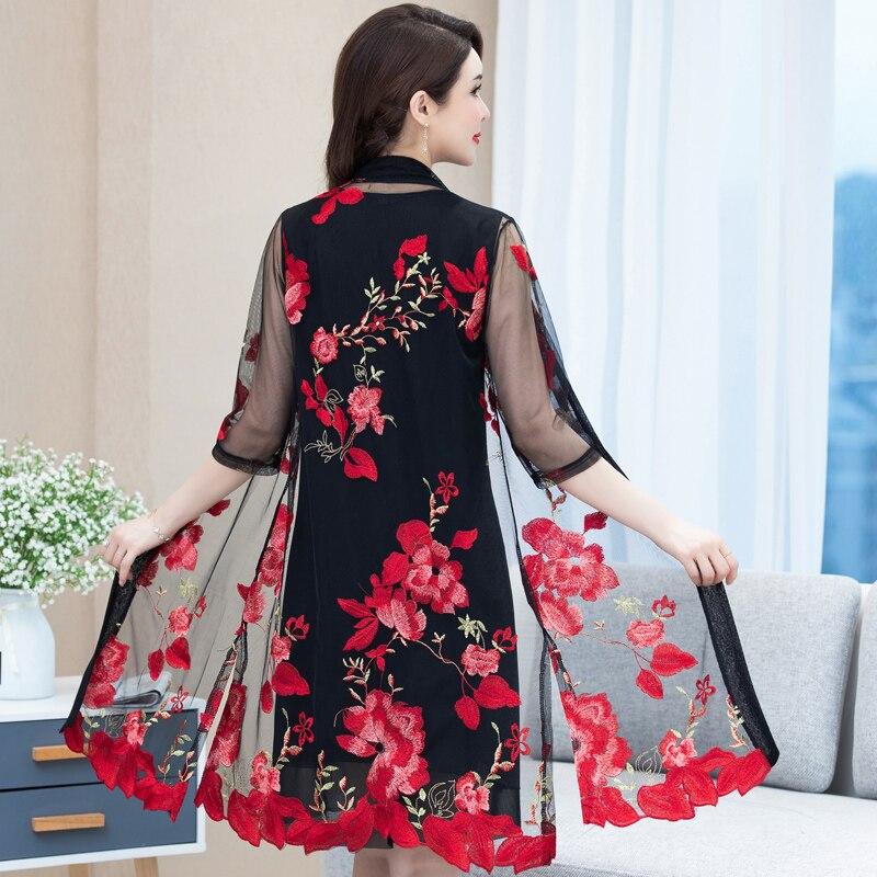 Las nuevas mujeres bordado Floral Chaqueta larga de verano neto Rebeca Casual de manga larga delgada abrigos Vintage playa ropa 5XL