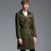 free shipping large size casual double breasted suede windbreaker zipper decorate multi pocket lapel black men long coat s 5xl