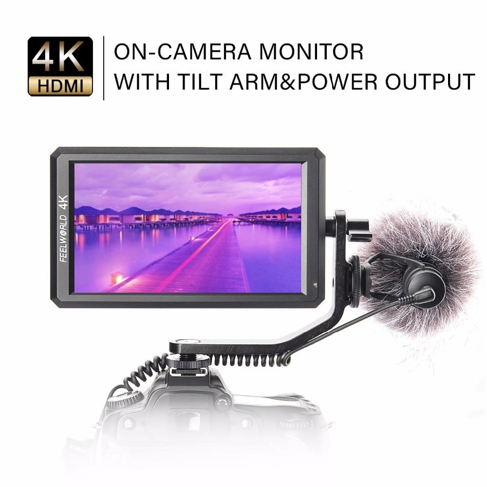 """Feelworld f6 5.7 """"ips 4 k hdmi câmera-monitor de topo para canon nikon sony câmera de vídeo pode ligar para dslr ou câmera sem espelho"""