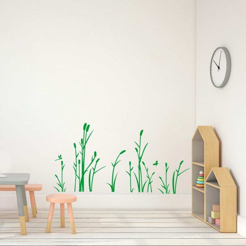 Рид и стрекоза наклейка на стену трава виниловая настенная художественная наклейка для декора гостиной детской спальни украшения