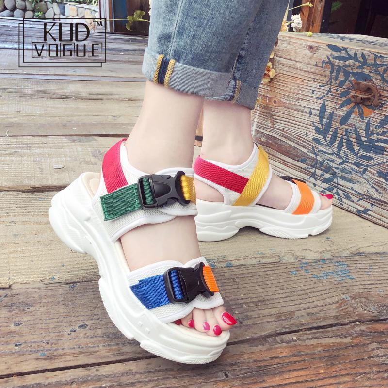 2019 Hot Harajuku Shoes New Fashion Women Platform Sandals Ladies Casual Peep-toe Wedges Shoes Woman Sandalias Mujer Black White