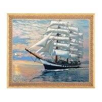 needleworkdiy dmc 14ct unprinted cross stitchcounted embroidery cross stitch kits set big ship in the sea home made pattern