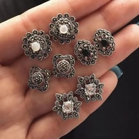 boho 4 pairs dazzling opal cryst flower earrings set for women men black stone hollowing ear clip jewelry 2020 new arrival