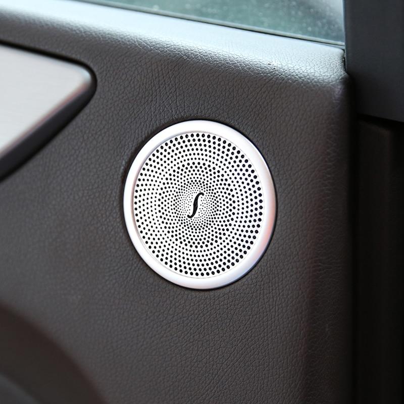 Auto Styling Aluminiumlegering Deur Audio Speaker Cover Trim Sticker Voor Mercedes Benz Ml Gl Gle Gls W166 X166 Auto deel Accessoires
