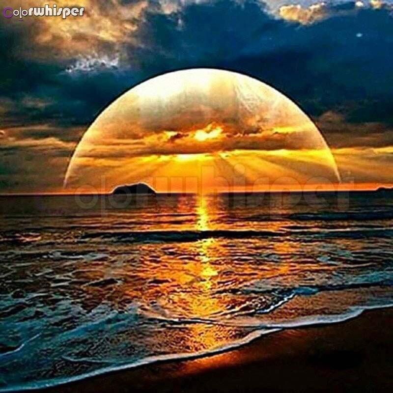 Pintura de diamante cuadrado completo/redondo diamante hermosa puesta de sol en el cielo del mar 5D Daimond pintura cuadro punto de cruz cristal L009