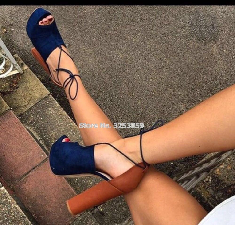 ALMUDENA, superventas, Sandalias de tacón alto grueso para mujer, sandalias con cordones de ante azul, zapatos de plataforma abierta, zapatos de vestir, zapatos de tacón para banquetes
