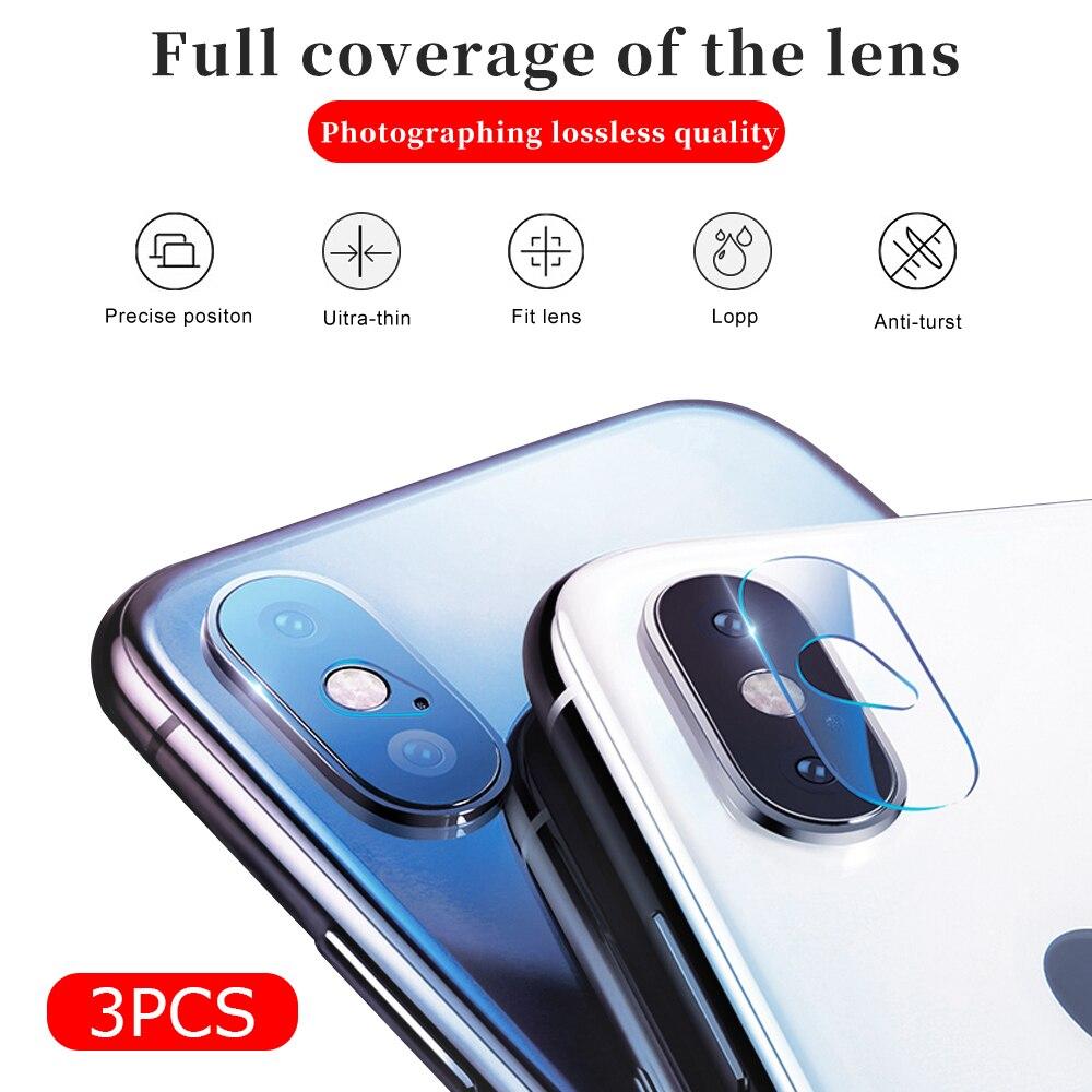 3 unids/lote Protector de lente de cámara para iPhone 7 8 Plus X XR XS Max película protectora de cristal para iPhone8 iPhone7 Plus iPhoneX