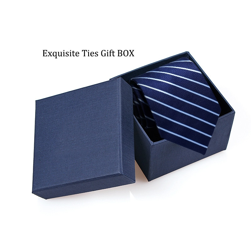 High Quality Classic Blue Striped Ties for Men Business Formal 8cm Width Necktie Wedding Mens Ties Corbatas with Tie Gift Box