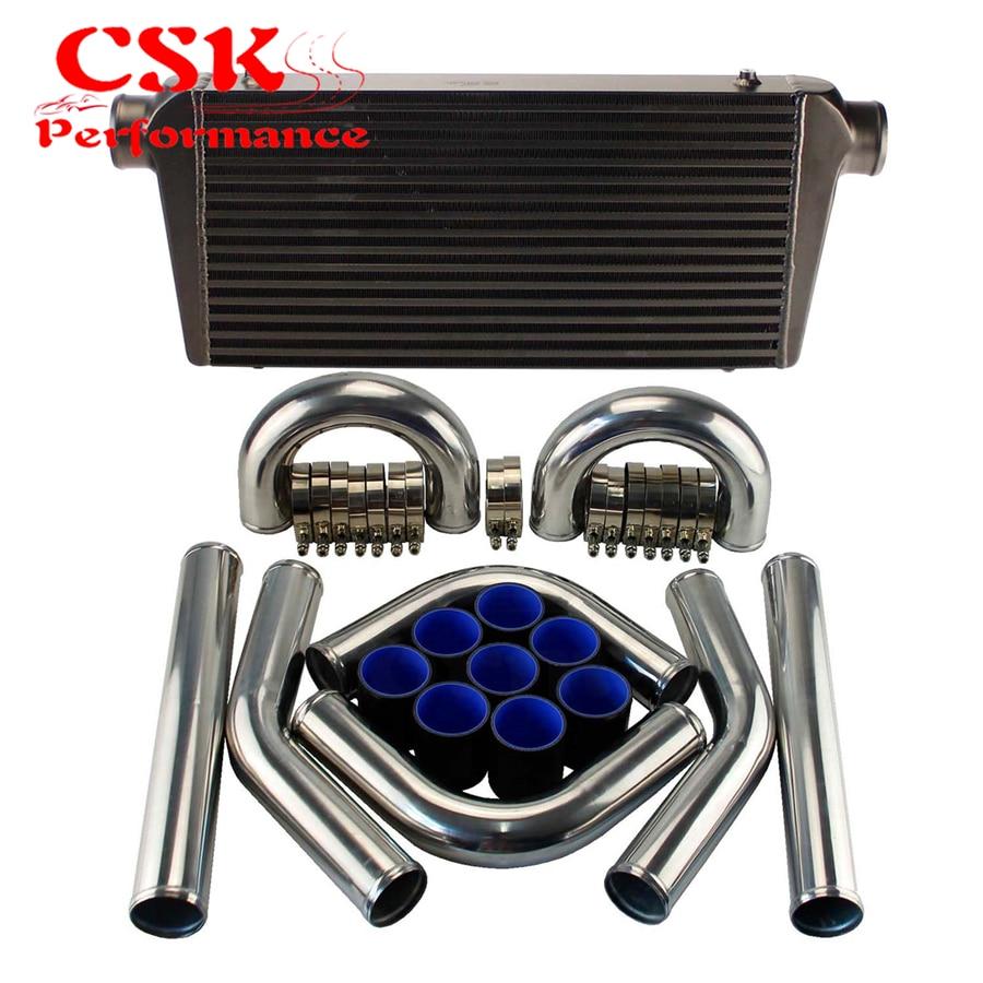 "Intercooler de montaje frontal Universal + 3 ""76mm, Kit de abrazaderas de manguera para tuberías de aluminio negro/azul/rojo"