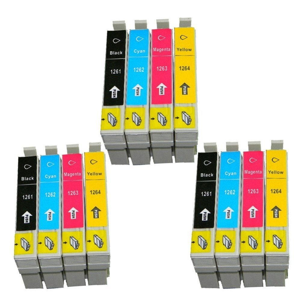12pk T1261 T1262 T1263 T1264 compatible cartucho de tinta para EPSON 630 de 633, 635 60 840 cartucho de impresora T126 con chip