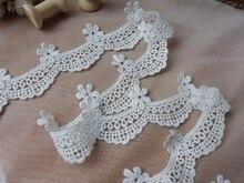 Garniture Adorable en dentelle festonnée   Dentelle blanche, ivoire, pétales de fleurs, oeillet dentelle de mariage, dentelle en coton, bordure de tissu de 2