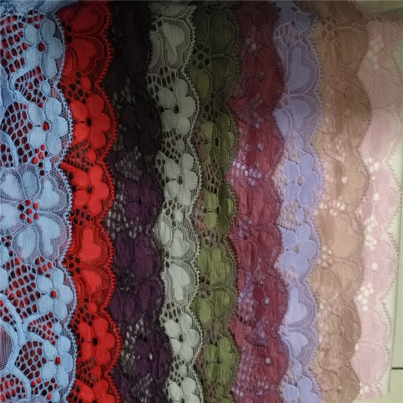 Free shipping 10yards/lot Width 18cm 11colors presser Elastic Lace Fabric DIY Garment Accessories,Wedding Lace,Lace Material