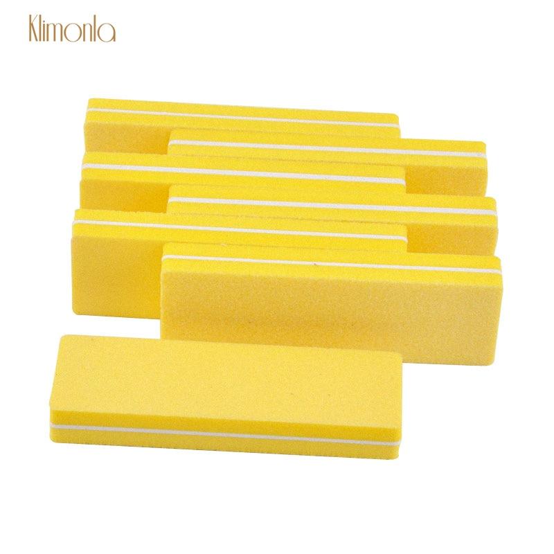 20 unids/lote de uñas amarillo esponja bloques de lijado 100/180 granos de uñas de Gel UV polaco para manicura pedicura herramientas para el cuidado de