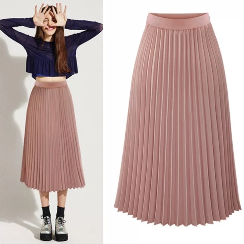 Pink Pleated Skirt Women High Waist Midi Chiffon A line Chic Elegant Quality Winter Autumn YYW-8889