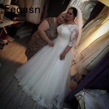 Real Photo grande taille robes de mariée pas cher dentelle col en V demi manches blanc robes de mariée robe de mariée robe mariage 2020
