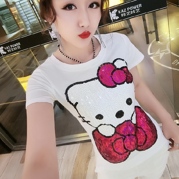 2019 الربيع و الصيف النسخة الكورية من جديد تي شيرت الإناث الكرتون kt القط ضئيلة قصيرة الأكمام مطرزة قميص المرأة