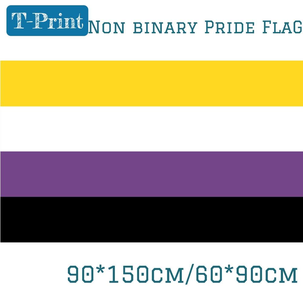 Не бинарный флаг гордыни 150х90см 60*90 см LGBT 3X5FT баннер 100D полиэстер прокладки на заказ для вечеринки бар