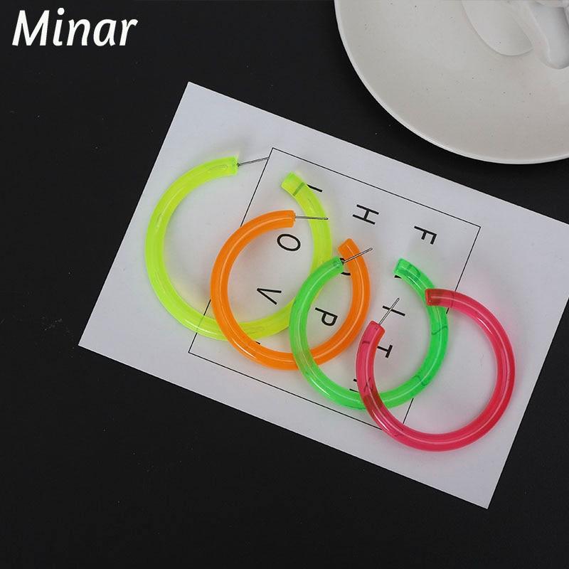 Transparent Resin Hoop Earrings Bright Color Thick Acrylic Round Earrings For Women pink green orange yellow Big Hoop Earrings