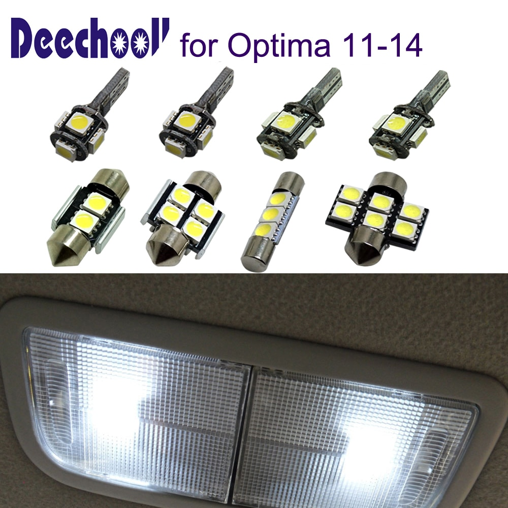 Deechooll 13 Uds bombillas LED de coche para Kia Optima 2011-2014, luces interiores blancas para Kia Optima 3ª generación 11-14 luz de lectura