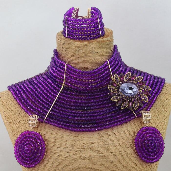 Fabulous 18 Layers Chunky African Purple Beads Jewelry Set Luxury Women Choker Necklace Earrings Party Set Free Shipping WD267
