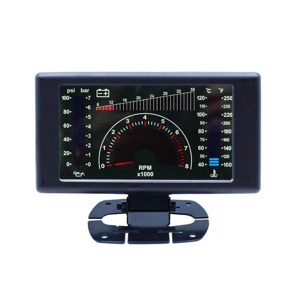 """5 """"LCD 4 in1 0-36 v Für 12 v und 24 v VOLT RPM WASSER TEMP ÖL PRESSE Für Sowohl Benzin Auto Und Heavy Duty Diesel Vehic"""