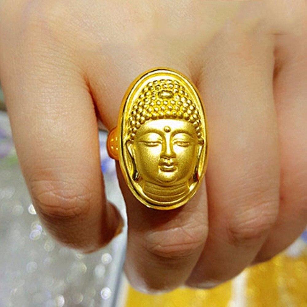 Gran oferta, anillo de oro amarillo puro de 24K para mujeres y hombres, anillo de moda de Buda con suerte 5,48g