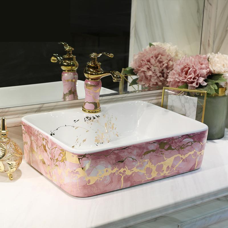Arte de Jingdezhen, lavabo cuadrado rosa, lavabo ovalado, arte para baño, lavabo rectangular de cerámica, lavabo de baño