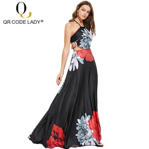 Платье-макси летнее с открытой спиной и принтом, размеры до 3XL