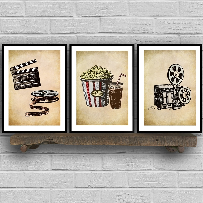 Pósteres de lienzo de arte Vintage de Cine de película pintura de pared imagen de palomitas de maíz película Clapper impresión Cine en Casa Decoración Retro