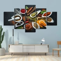 Toile avec cadre dart mural  5 pieces  affiches de peinture avec ingredients et epices pour salon  imprimes HD  decoration de maison